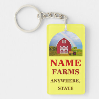 Add Your Name to Red Barn with Blue Sky Double-Sided Rectangular Acrylic Keychain