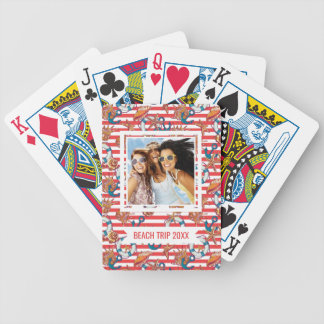 Add Your Name | Trendy Beach Pattern | Monogram Bicycle Playing Cards