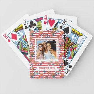 Add Your Name | Trendy Beach Pattern | Monogram Poker Deck