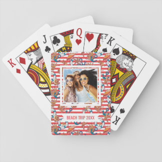 Add Your Name | Trendy Beach Pattern | Monogram Poker Deck