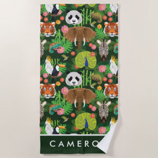 Add Your Name | Tropical Animal Mix Beach Towel
