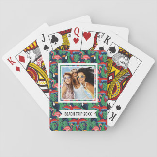 Add Your Name | Tropical Birds In Bright Colors Playing Cards