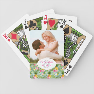Add Your Name | Tropical Flowers & Pineapples Bicycle Playing Cards