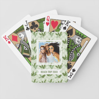 Add Your Name | Tropical Palm Leaves Bicycle Playing Cards