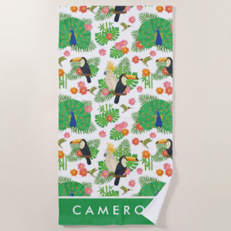 Add Your Name | Tucan And Peacock Pattern Beach Towel