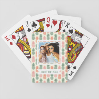 Add Your Name | Vintage Pineapple Pattern Playing Cards