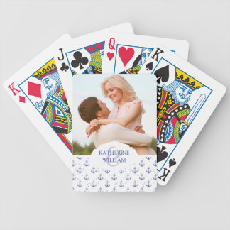 Add Your Name | Watercolor Anchor Pattern Bicycle Playing Cards