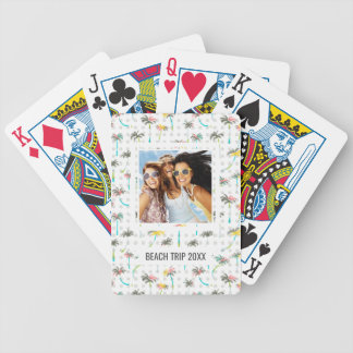 Add Your Name | Watercolor Palm Trees Bicycle Playing Cards