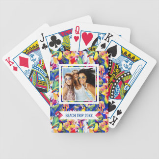 Add Your Name | Watercolor Parrots Bicycle Playing Cards