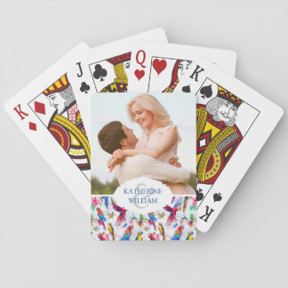 Add Your Name | Watercolor Style Parrots Playing Cards