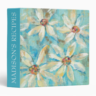 Add Your Name | White Daisies on Blue 3 Ring Binder