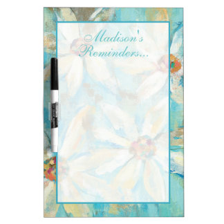 Add Your Name | White Daisies on Blue Dry Erase Board