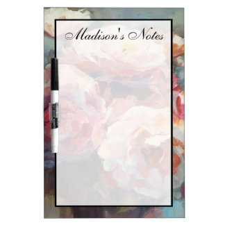 Add Your Name | Wild Pink Roses Dry Erase Board