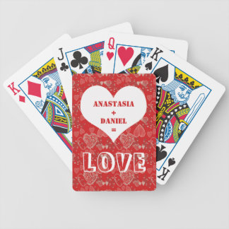 Add your names on red grey white hearts pattern bicycle playing cards