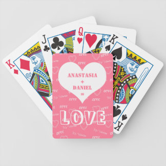 Add your names on rose pink and white love pattern bicycle playing cards
