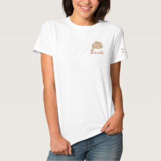 Add Your Names Pink Rose Bride T-shirt Polos