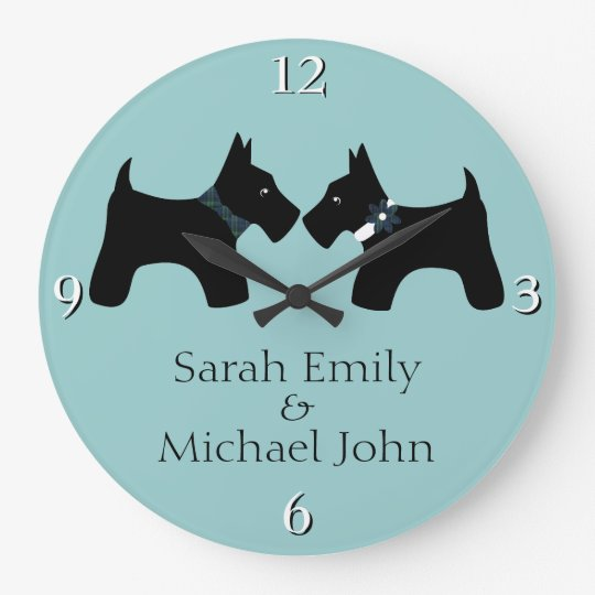 Add Your Names: Romantic Scottie Dogs Clocks