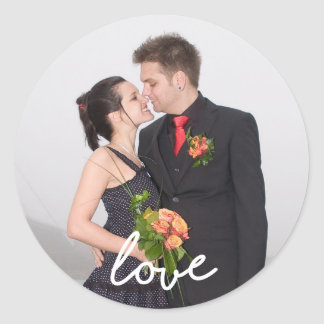 Add your own custom photo personalized template classic round sticker