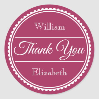 Add Your Own Name Couple's Thank You Classic Round Sticker