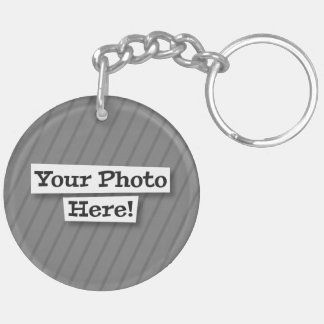 Add Your Own Pet and Flag & Photo Double-Sided Round Acrylic Keychain