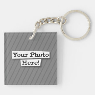 Add Your Own Pet and Flag & Photo Double-Sided Square Acrylic Keychain