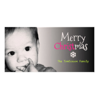 Add Your Own Photo and Custom Name Christmas - Photo Greeting Card