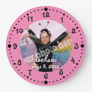 Add Your Own Photo Cute Pink Clock W/ Minutes