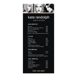 Add Your Own Photos  Black Salon Price List Menu