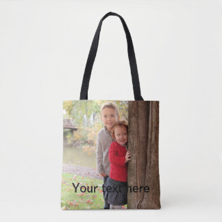 Add Your Own Text and Custom Photo Tote Bag