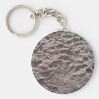 Add your own text, writing in sand, sunny beach basic round button keychain