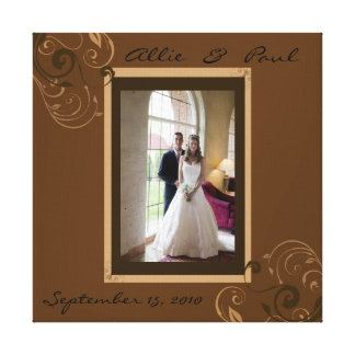 Add Your Own Wedding Photo Brown Swirls  Wrapped C Canvas Print