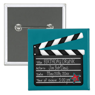 Add Your Own Words Movie Director Clapboard 2 Inch Square Button
