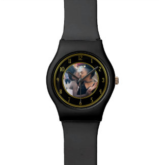 Add Your Personalized Photo   Gold Black Elegant Watch