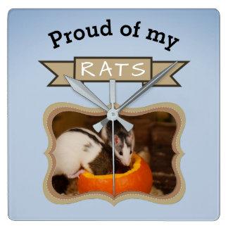 Add Your Pet Rats Photo Rat Square Wall Clock