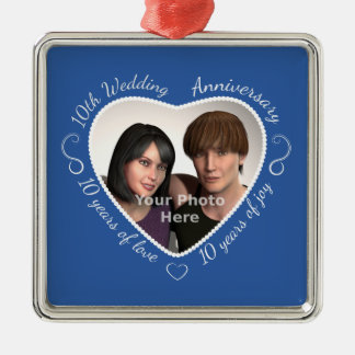 Add Your Photo 10 Years of Marriage Silver-Colored Square Ornament