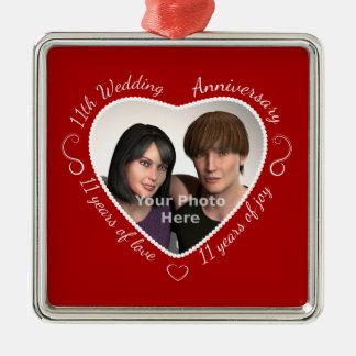 Add Your Photo 11 Years of Marriage Silver-Colored Square Ornament