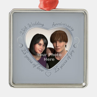 Add Your Photo 25 Years of Marriage Metal Ornament