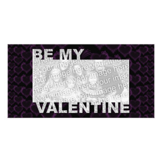 ADD Your Photo Be My Valentine Frame - Goth Hearts Photo Card Template