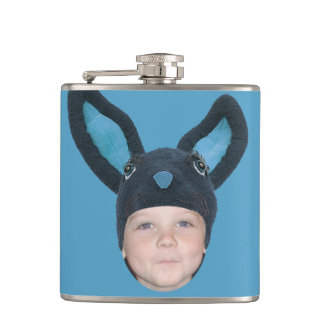 Add Your Photo Blue Bunny Ears Flasks
