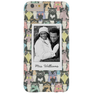 Add Your Photo | Cute Hipster Cats Pattern Barely There iPhone 6 Plus Case