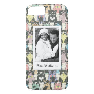 Add Your Photo | Cute Hipster Cats Pattern iPhone 8/7 Case