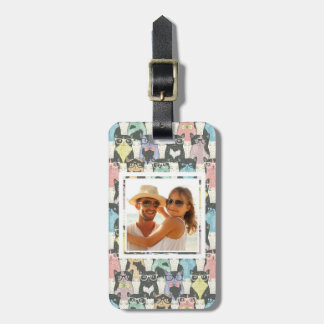 Add Your Photo | Cute Hipster Cats Pattern Luggage Tag