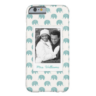 Add Your Photo | Cute Teal  Elephant Pattern Barely There iPhone 6 Case