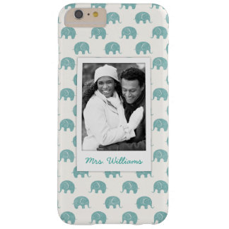 Add Your Photo | Cute Teal  Elephant Pattern Barely There iPhone 6 Plus Case