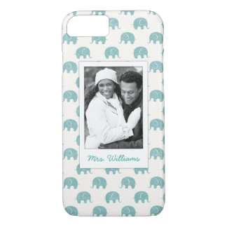 Add Your Photo | Cute Teal  Elephant Pattern iPhone 8/7 Case