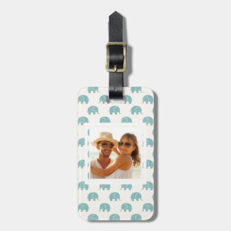 Add Your Photo | Cute Teal  Elephant Pattern Luggage Tag