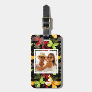 Add Your Photo | Dark Autumn Pattern Luggage Tag