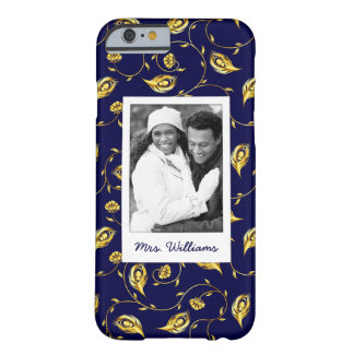 Add Your Photo | Dark Blue Peacock Pattern Barely There iPhone 6 Case