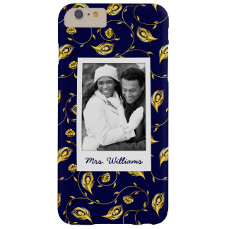 Add Your Photo | Dark Blue Peacock Pattern Barely There iPhone 6 Plus Case