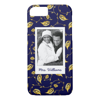 Add Your Photo | Dark Blue Peacock Pattern iPhone 8/7 Case